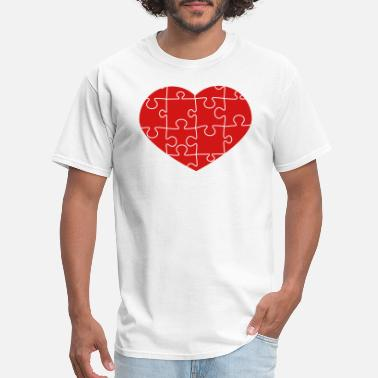 Piece Of Me puzzle love heart i love pattern many puzzle piece - Men's T-Shirt
