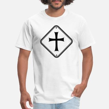 Cross zone shield warning caution note caution church sy - Men's T-Shirt