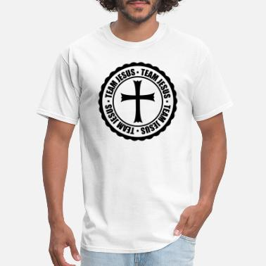 Rounded Cross stamp circle round team church symbol cross jesus - Men's T-Shirt