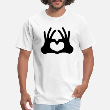 Hand Sign outline 2 hands couple team hand sign half heart l - Men's T-Shirt