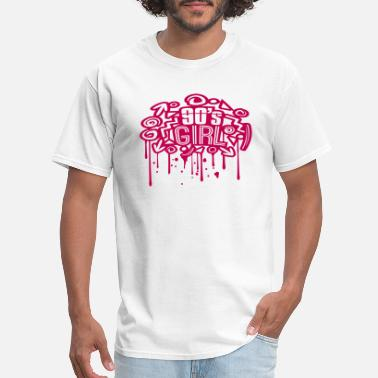 At Night drop graffiti stamp spray retro colorful 90s girl - Men's T-Shirt