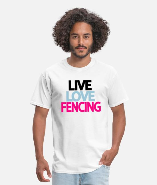 Girls Fencing T-Shirts - live love fencing - Men's T-Shirt white