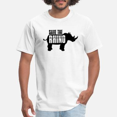 Threatening text save the rhino silhouette save survival extin - Men's T-Shirt