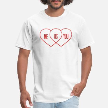 Funny Logo we both in love love heart shape diagram you and m - Men's T-Shirt