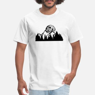 Moon full moon night moon mountains hill forest mountai - Men's T-Shirt