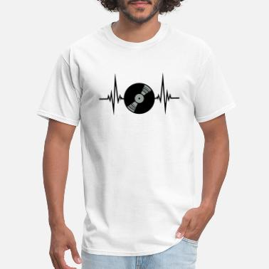 Sound vinyl platte puls herzschlag frequenz play party f - Men's T-Shirt