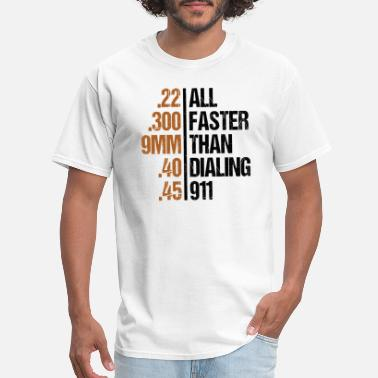 Faster All Faster Than Dialing 911 Gun Men's Tactical - Men's T-Shirt