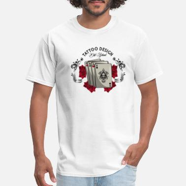 Rap Draw Old school tattoo with poker cards drawing design - Men's T-Shirt