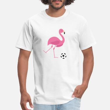 Animation Cute Football Flamingo Playing Soccer Football Sports Animal - Men's T-Shirt