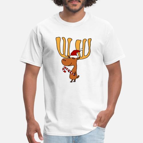 5ae8ce3e Funny Moose In Santa Hat Christmas Men's T-Shirt | Spreadshirt