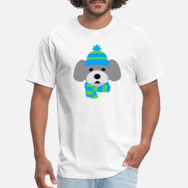 Stip Cute Dog in Winter hat blue and green strips - Men's T-Shirt