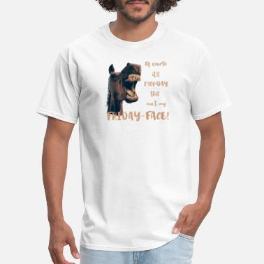 Funny Horse Horse Hates Monday - Men's T-Shirt
