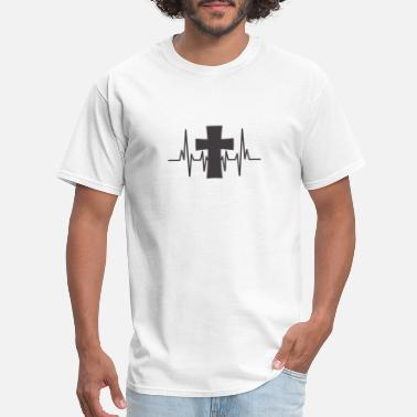 Jesus Heartbeat Cross Heartbeat Gift Religion I Love Jesus - Men's T-Shirt
