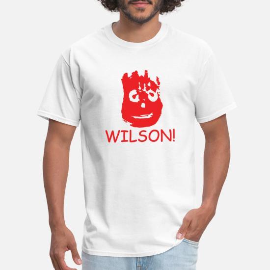 WILSON MENS T-SHIRT FUNNY RETRO MOVIE CASTAWAY FILM CLASSIC