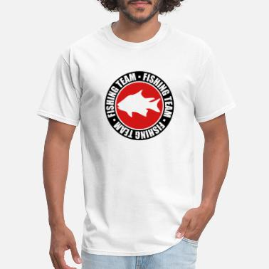 Sporty text circle round stamp fishing team sport logo ca - Men's T-Shirt