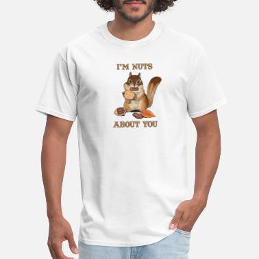 Puns Couple I'm Nuts About You Funny Squirrel Pun Couple - Men's T-Shirt