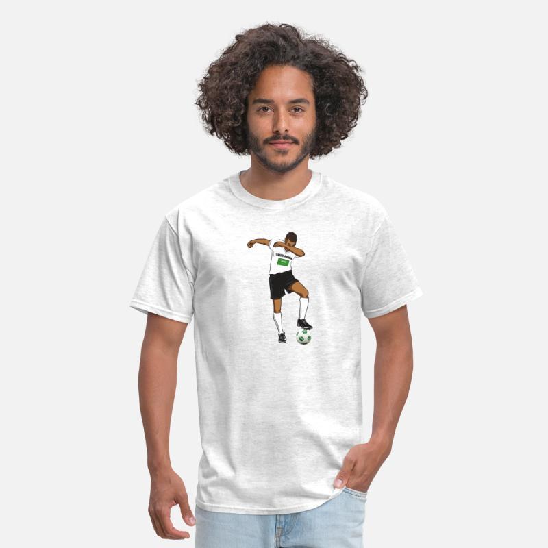 new style 960c3 c91df Saudi Arabia National Soccer Team Dabbing Player Men's T-Shirt - light  heather grey