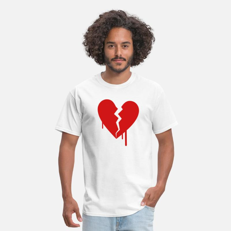 Blood T-Shirts - Broken Heart Bleed Drip 1c - Men's T-Shirt white