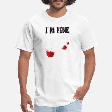 Just Married Nerd I'm Fine Graphic Zombie Slash Halloween T-Shirt - Men's T-Shirt