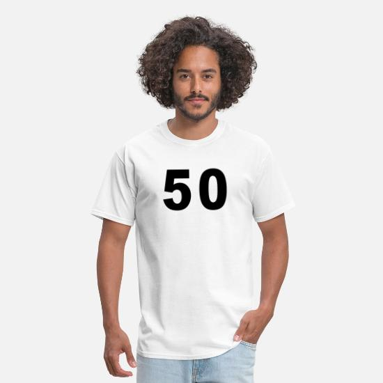 Football T-Shirts - Number - 50 - Fifty - Men's T-Shirt white