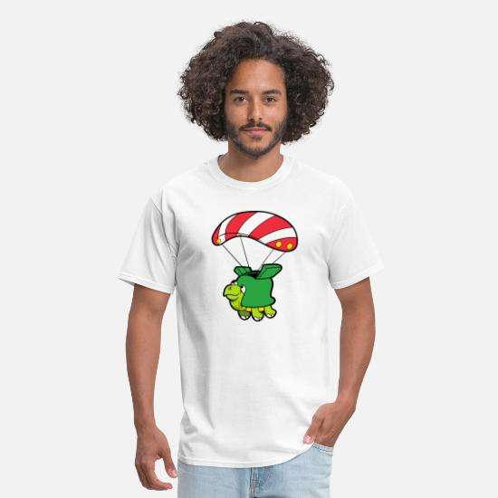 Hang T-Shirts - Turtle Tortoise Skydiver Skydiving Sports - Men's T-Shirt white