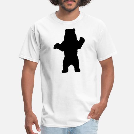 685ba77c1 T-Shirts - Standing Bear, Grizzly Bear Silhouette - Men's T-Shirt white