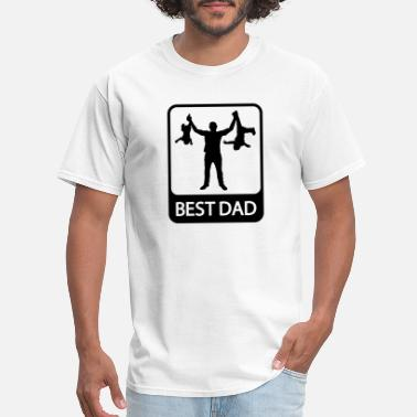 Family Best Dad - Funny Silhouette of Father and Children - Men's T-Shirt