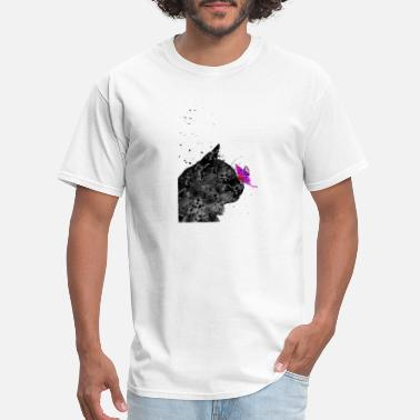 Black Butterfly Cat and butterfly, black cat and butterfly - Men's T-Shirt