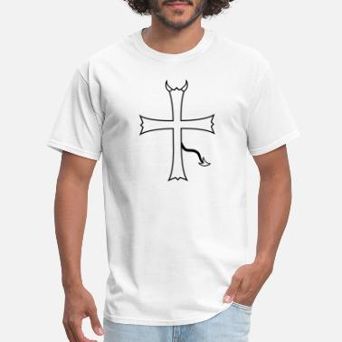 Satanism satan evil hell devil demon horns church symbol cr - Men's T-Shirt