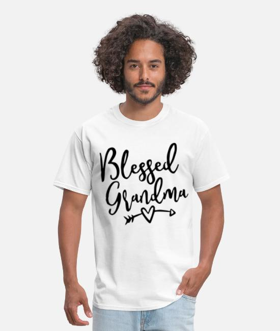 Gildan T-Shirts - MISSES Gildan Basic V Blessed Grandma V Neck Graph - Men's T-Shirt white