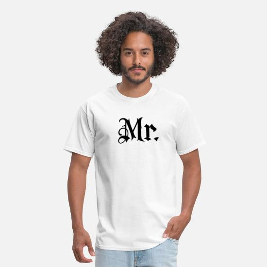 Mr And Mrs T-Shirts - Gladditudes Mr. tattoo style - Men's T-Shirt white