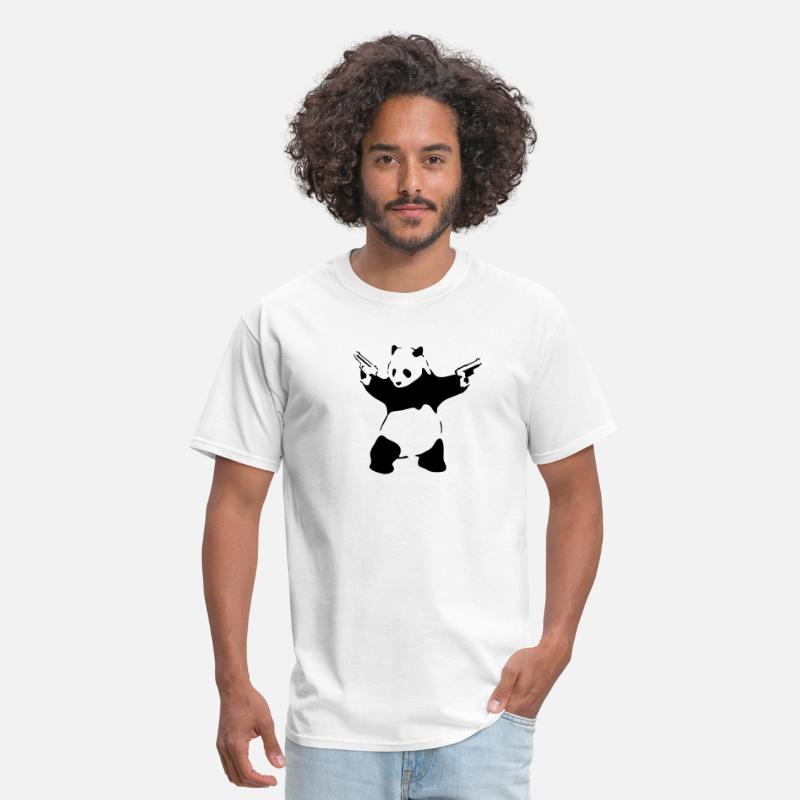 Mens Banksy Stencil Grafitti Panda with Gun Embroidered Polo Shirts Men Shirts