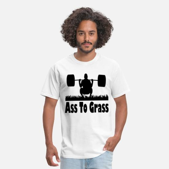 Grass T-Shirts - ASS TO GRASS GYM FUNNY CROSSFIT SQUAT LEG HEALTH R - Men's T-Shirt white