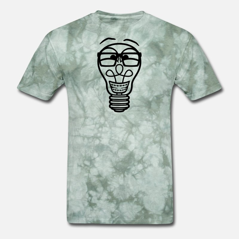 face nerd geek horn goggles braces light bulb elec Men's T-Shirt - military  green tie dye