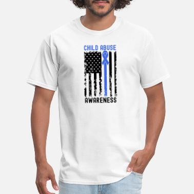Abuse April Child Abuse Awareness Ribbon American Flag - Men's T-Shirt