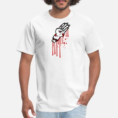 Stained blood drops graffiti hand arm severed zombie dead - Men's T-Shirt
