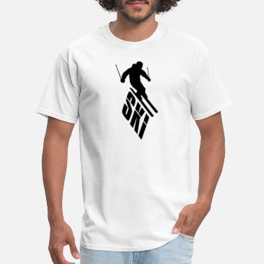 Cooler text logo downhill cool skiing down mountain winte - Men's T-Shirt
