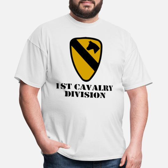 Mens 1st Cavalry Division Logo Army Embroidered Polo Shirts Embroidery Shirts