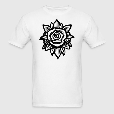 Black & White Flower Illustration  - Men's T-Shirt