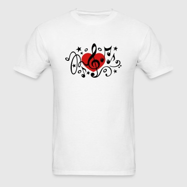 Music heart note I love classic choir star clef  - Men's T-Shirt