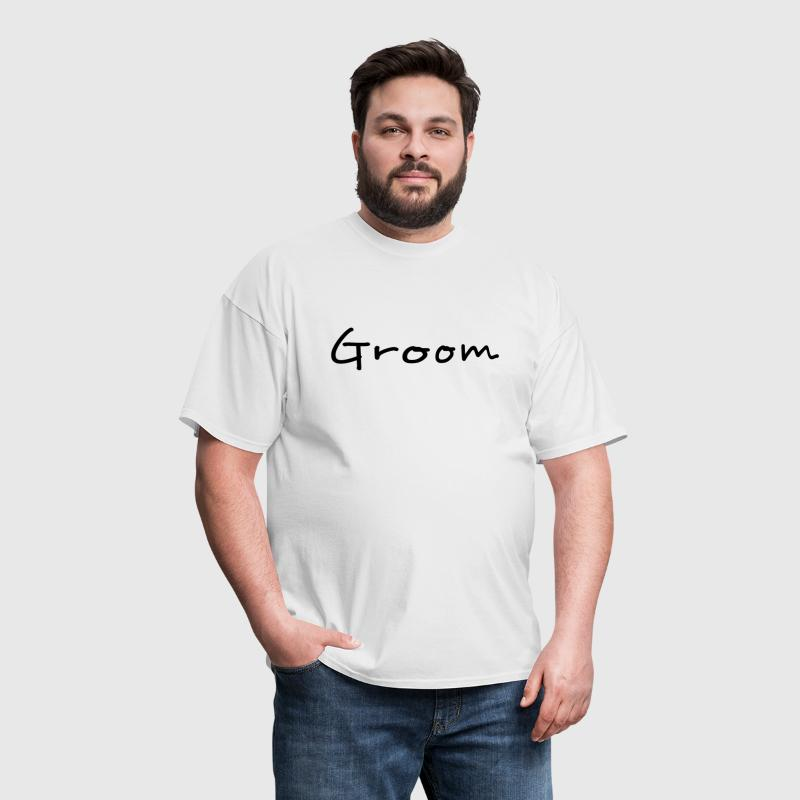 Groom Text Word Graphic Design in Black for Bachelor Parties, Hen Party, Stag and Does, Bridal Party and Wedding Showers Men TShirts - Men's T-Shirt