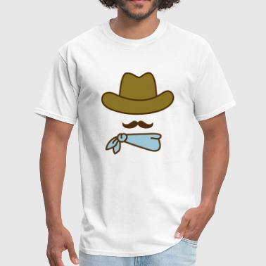 cowboy hat with moustache and bandana - Men's T-Shirt