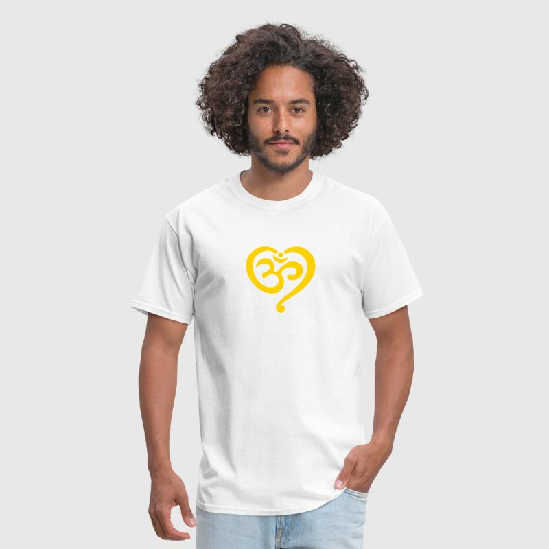Yoga Heart OM Symbol Love Spirituality Buddhism  - Men's T-Shirt