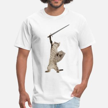 Nine Lives Heroic Warrior Knight Cat - Men's T-Shirt