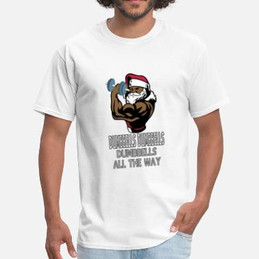 Muscles Dumbbell Muscle Santa Claus with dumbbells - Men's T-Shirt
