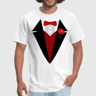 Valentine's Day Tuxedo T-Shirt, Red Heart w/ Rose - Men's T-Shirt