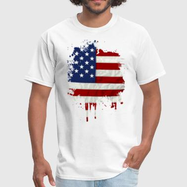United States Flag Paint Splatter - Men's T-Shirt