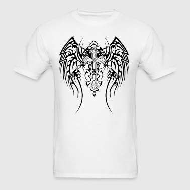 Cool Goth cross with wings - Men's T-Shirt