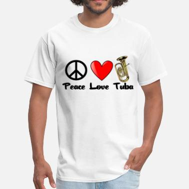 Tuba Love Funny Peace, Love, Tuba - Men's T-Shirt