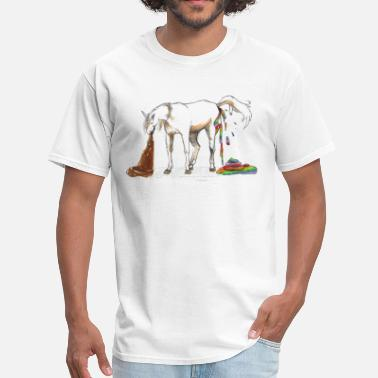 Cartoon Poop Unicorn pooping rainbows and barfing poop - Men's T-Shirt